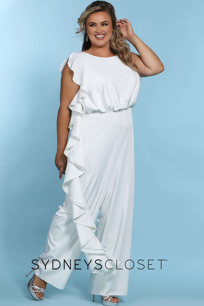 SC5244 Shania Jumpsuit by Sydney's Closet French Crepe fabric bra friendly sleeveless flounce on side of bodice and pant center back zipper available in Ivory