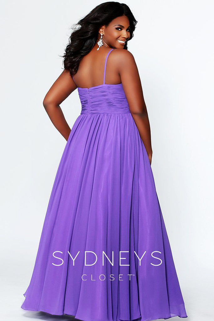 SC7071 flattering empire waist chiffon formal evening gown with rhinestones on the bodice and matching chiffon shawl.