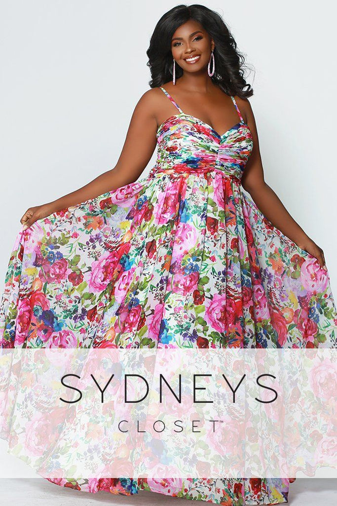 SC7257 long empire prom or evening dress with spaghetti straps and multi-colored floral design sizes 14-40