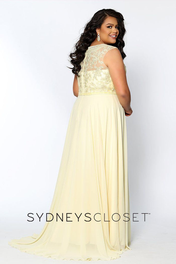 SC7280 blue or yellow plus size prom or evening gown with a lace V-bodice, bra-friendly straps and full A-line chiffon flowy skirt.