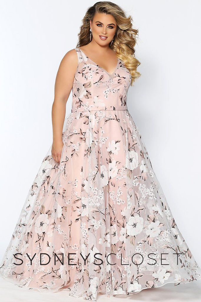 SC7295 blush floral plus size evening gown with V-neckline, full A-line skirt in a sheer floral chiffon over satin.