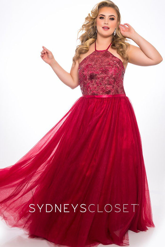 SC7260 plus size halter ballgown with beaded bodice and tulle a-line skirt available in black or wine.