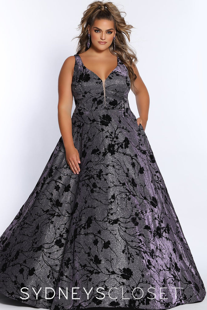 Under My Spell Prom Dress SC7303 by Sydney's Closet A-Line v-neck shimmery metallic fabric lace up corset back with pockets and bra friendly straps available in midnight blue and purple reign