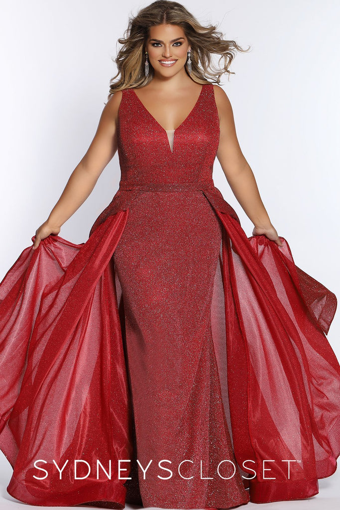 Touch the Stars Pageant Gown SC7313 by Sydney's Closet bra friendly straps mermaid with fly away skirt zipper back and v-neck available in jade and ruby