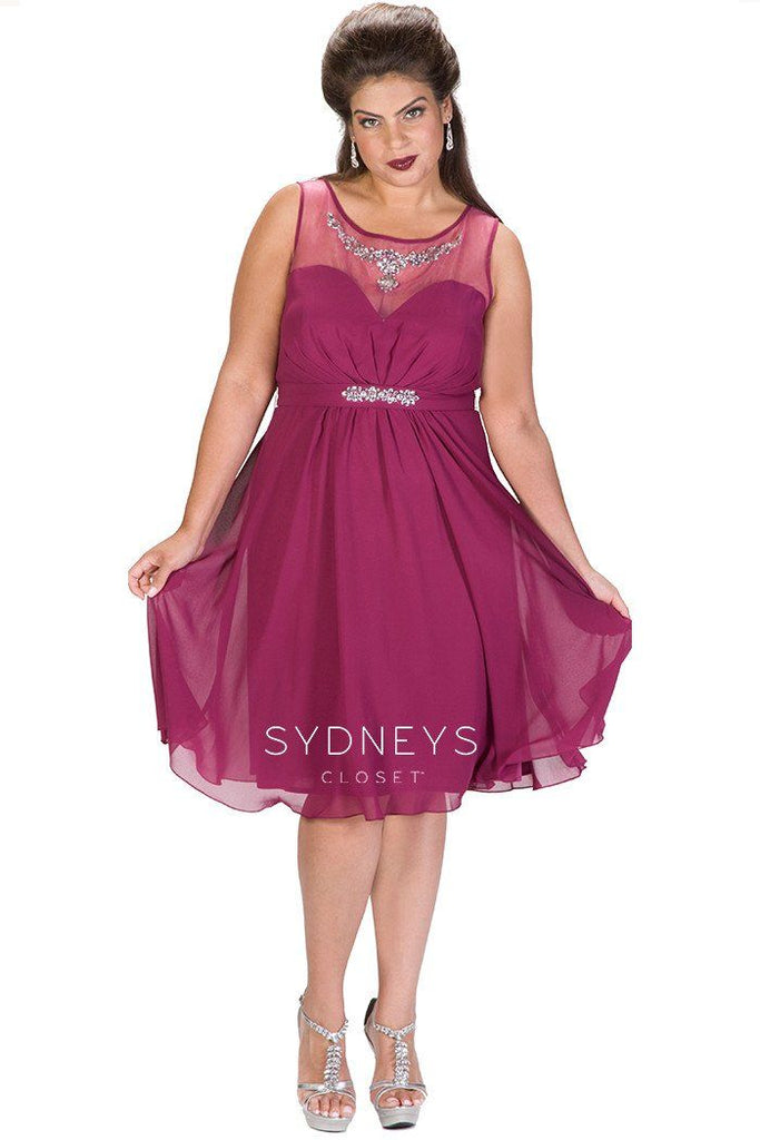 SC8080 burgundy, navy or sangria plus size short dress with sweatheart neckline, beaded attached belt and flowy chiffon skirt.