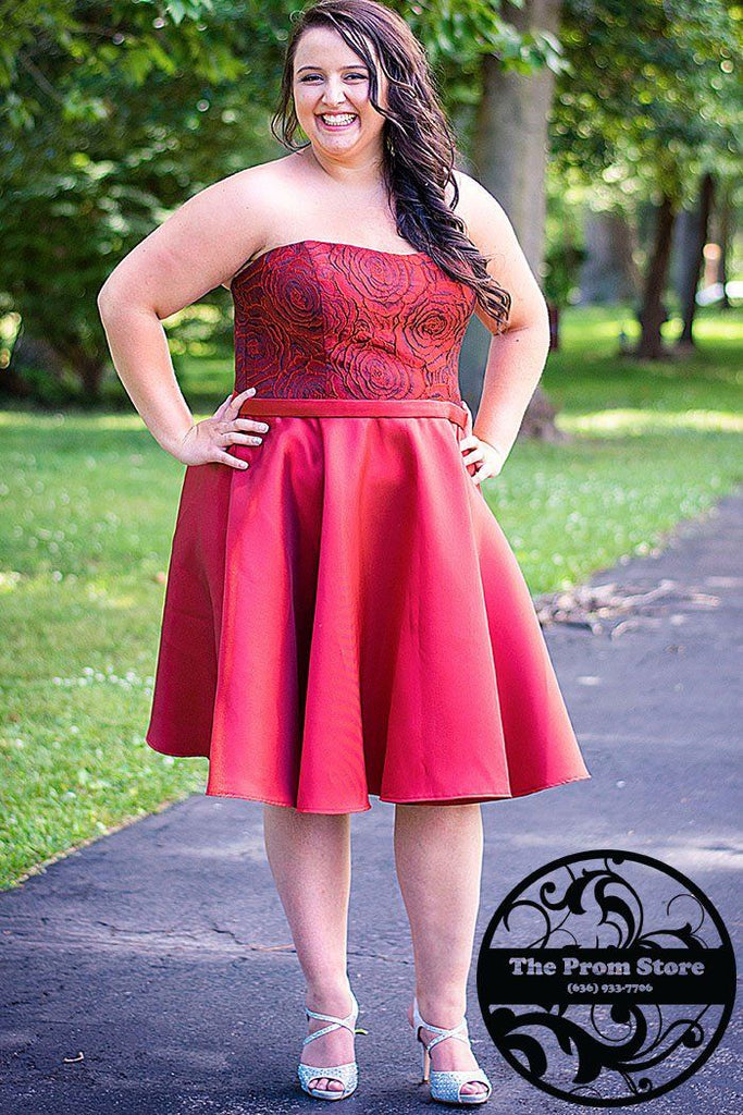 SC8083 strapless red plus size party dress with mikado satin skirt and corset back.