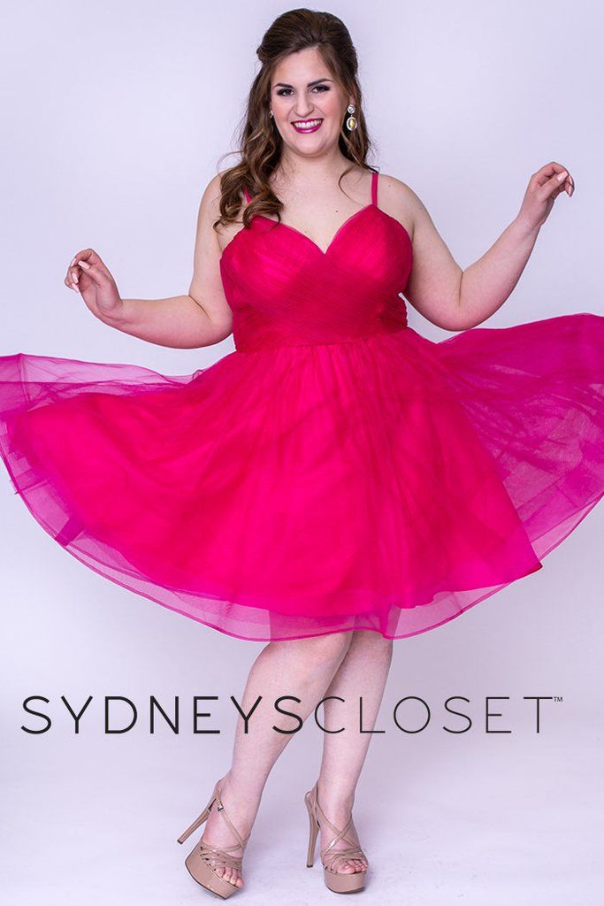 SC8094 navy, pewter or pink berry plus size short party dress with tiered skirt, pleated bodice and spaghetti straps
