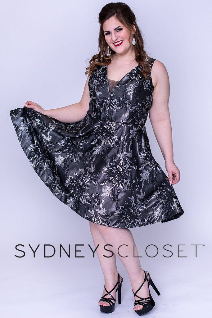 SC8098 gunmetal or midnight blue short party dress with V-neckline, bra-friendly straps and A-line skirt.