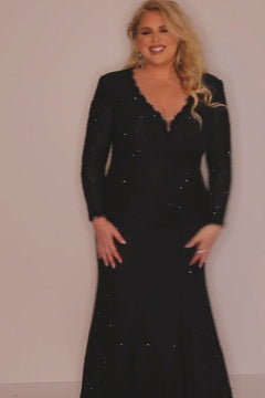 JK2104 Mercedes Pageant Gown Johnathan Kayne for Sydney's Closet plus size pageant mermaid dress long sleeved v neck with zipper back available in cobalt, jet black and scarlet