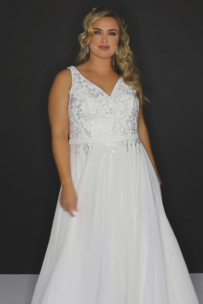 Joni Bridal Gown SC5252 by Sydney's Closet A-Line with belt and zipper back chiffon skirt with leg slit and appliques on the bodice available in Ivory