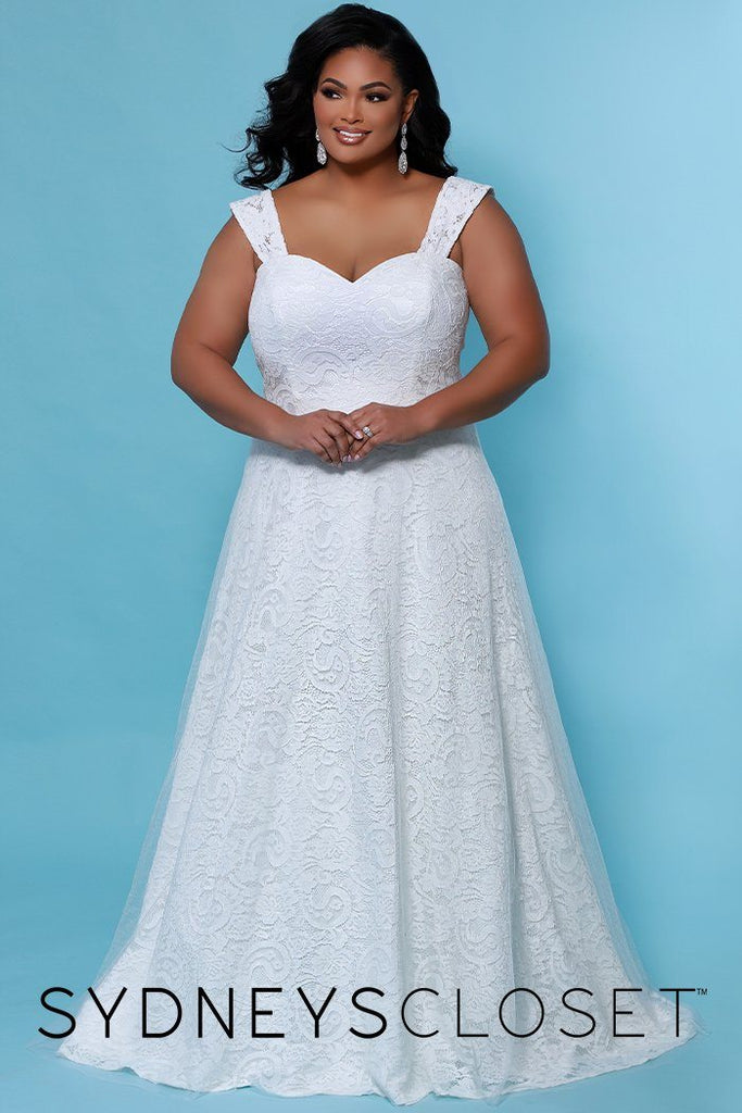 SC5260 Dahlia Wedding Dress by Sydney's Closet, strapless plus size wedding gown with a slim aline silhouette and sweetheart neckline, optional straps with soft tulle over contemporary lace, available in black and ivory