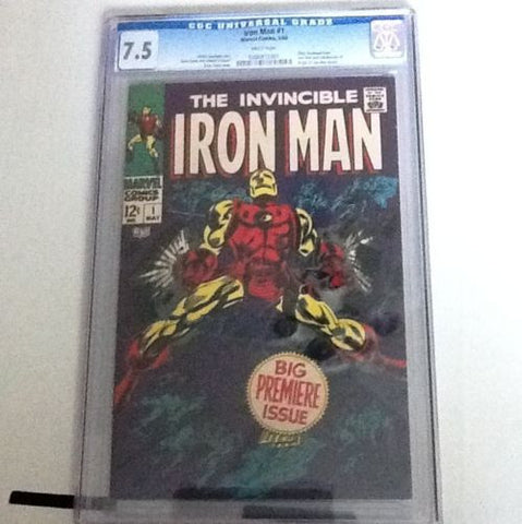 "Iron Man  #1.   May, 1968.  CGC  ""White""  7.5 - ComicBookKeys"
