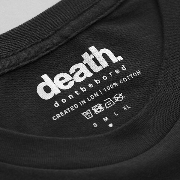 tshirt t-shirt tee streetwear street style fashion blog white health death clothing apparel company mens woman menswear womenswear adventure explore getaway plane airport travel science vibrant colour darkness positivity paranoia rad black cool design typography