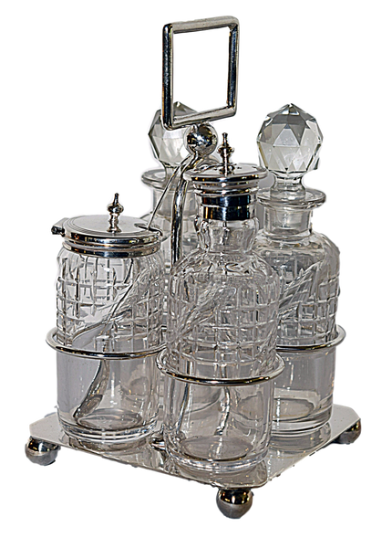 Four Bottle Silver Plated Cruet with Spoon - Tonkin of Nantucket - English and French Antique Furniture and Accessories