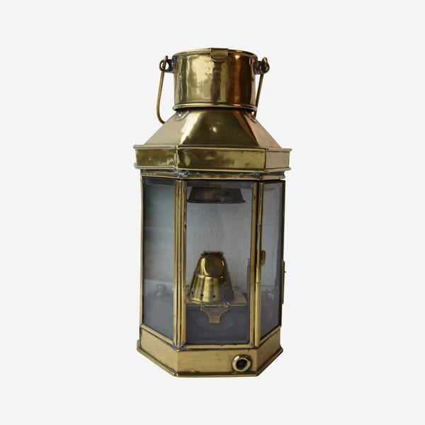 Brass Ship's Bulkhead or Passage Way Oil Lamp - Tonkin of Nantucket - English and French Antique Furniture and Accessories