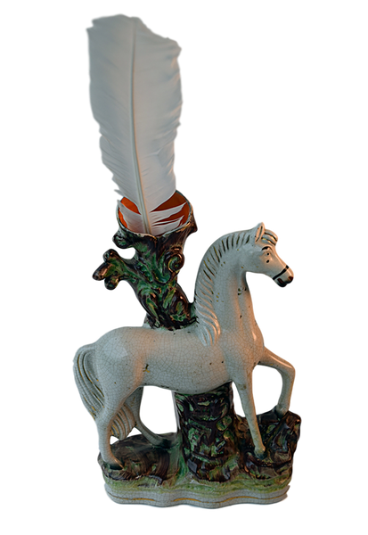 Staffordshire, White Horse Spill Vase - Tonkin of Nantucket - English and French Antique Furniture and Accessories