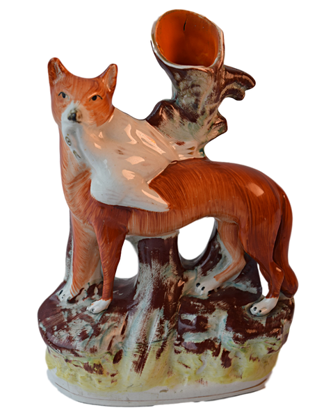 Staffordshire, Fox and Goose, Spill Vase - Tonkin of Nantucket - English and French Antique Furniture and Accessories