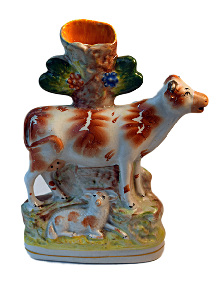 "Staffordshire, ""Cow with Calf"" - Tonkin of Nantucket - English and French Antique Furniture and Accessories"