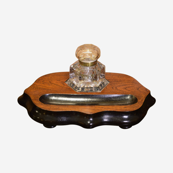 Hexagonal Glass Ink Well on Ebonized Oak Stand - Tonkin of Nantucket - English and French Antique Furniture and Accessories