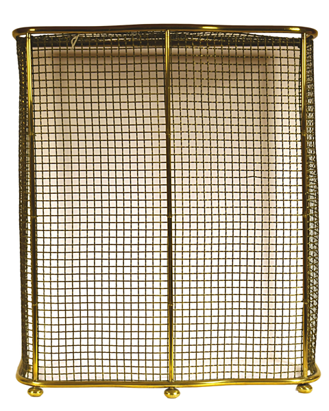 Brass and Steel Mesh Hooded Fire Screen, with mesh on top