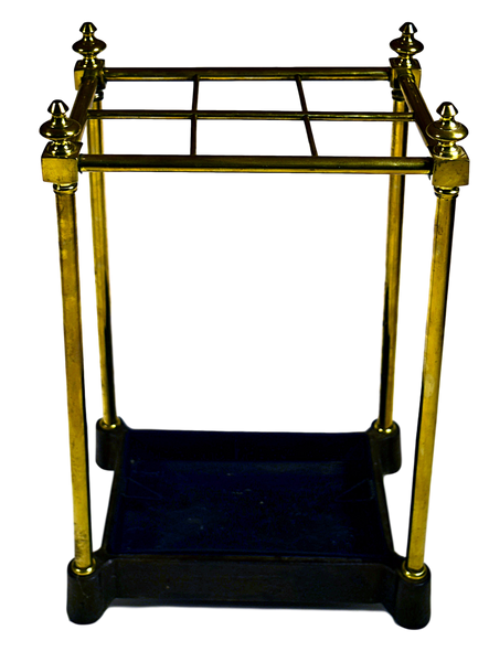 Brass and Iron Stick Stand with Removable Tray