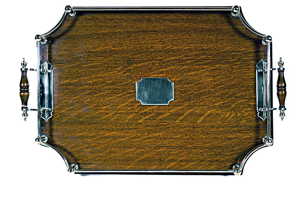 Silver Plate and Oak Gallery Tray - Tonkin of Nantucket - English and French Antique Furniture and Accessories