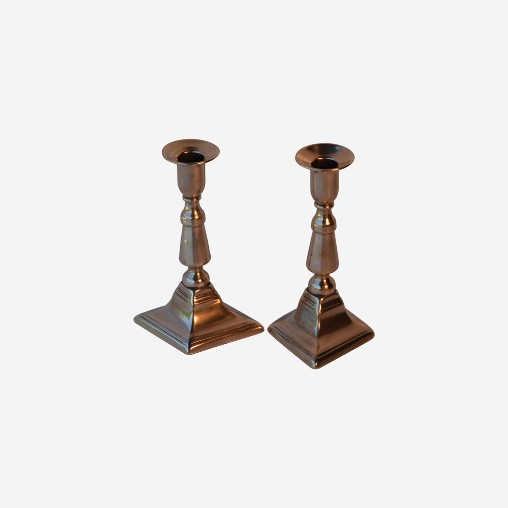 Pr. 7'' HIGH Brass Candlesticks - Tonkin of Nantucket - English and French Antique Furniture and Accessories