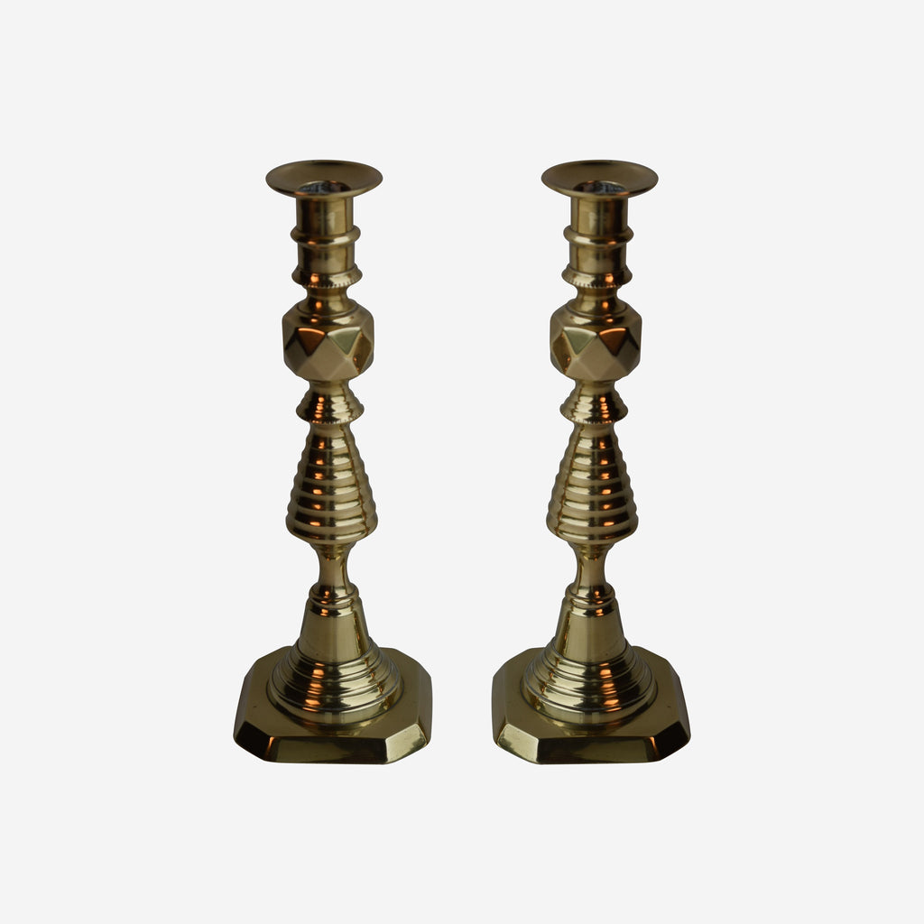Pair 16'' HIGH Brass Beehive Candlesticks - Tonkin of Nantucket - English and French Antique Furniture and Accessories