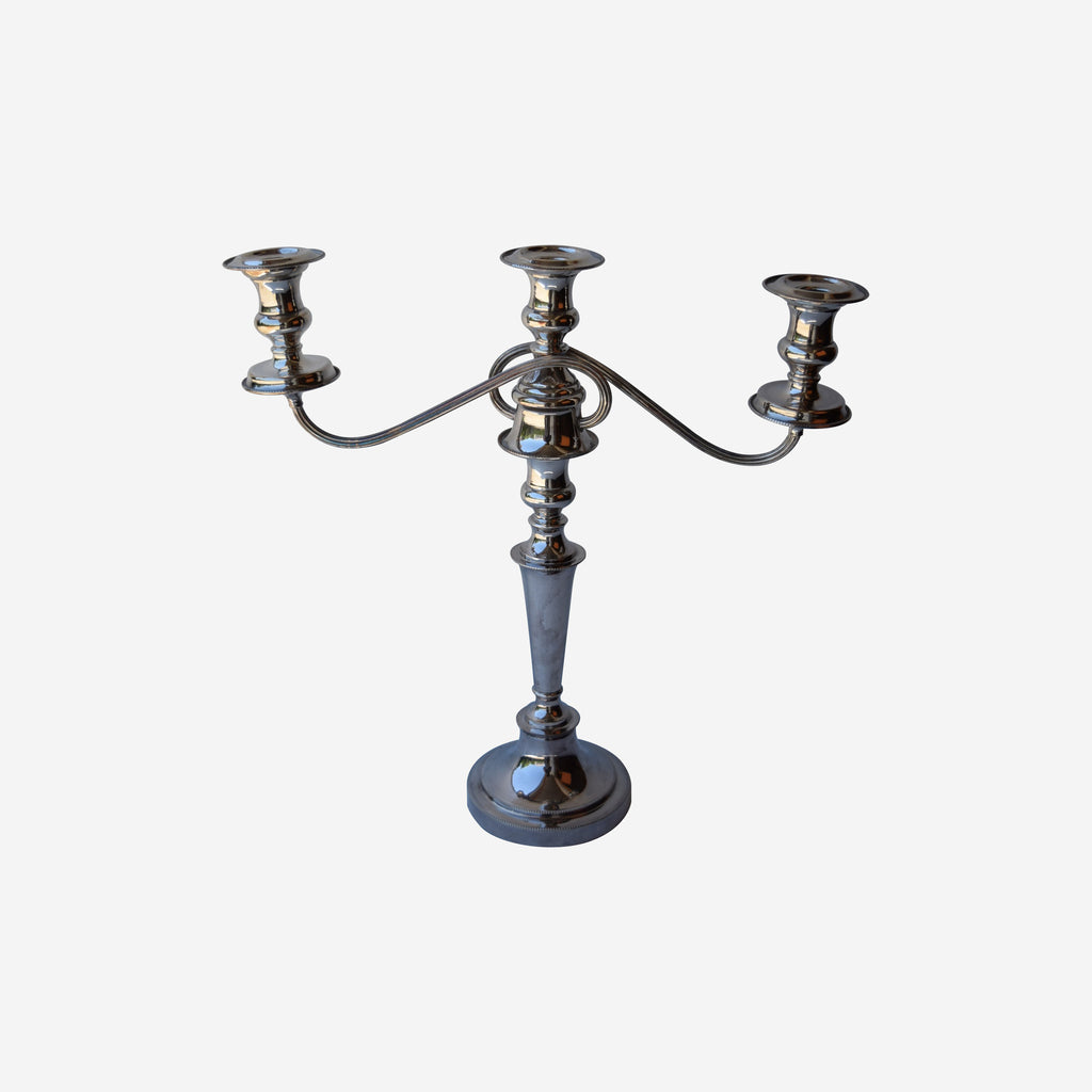 Three Arm Silver Plate on Copper Candelabra - Tonkin of Nantucket - English and French Antique Furniture and Accessories