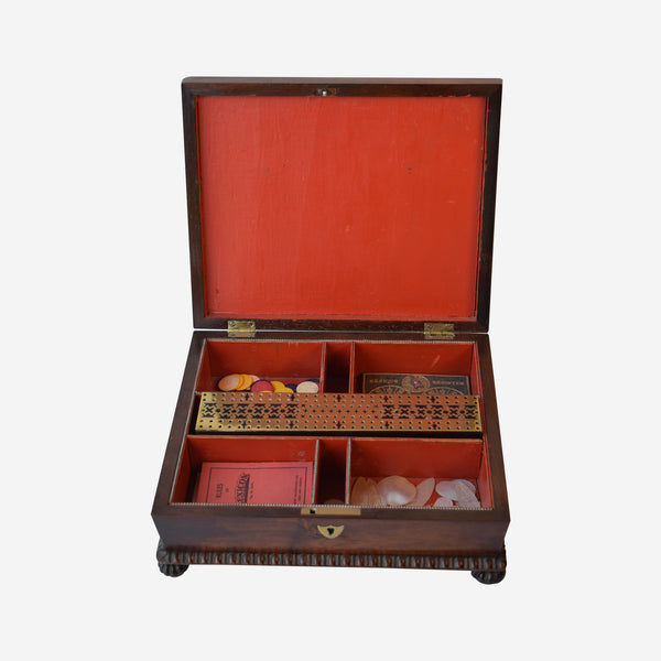 Rosewood Games Box with Superb Brass in lay - Tonkin of Nantucket - English and French Antique Furniture and Accessories