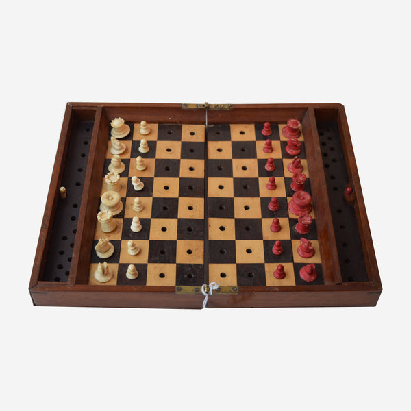 Mahogany Travel Chess Set with Ivory Figures - Tonkin of Nantucket - English and French Antique Furniture and Accessories