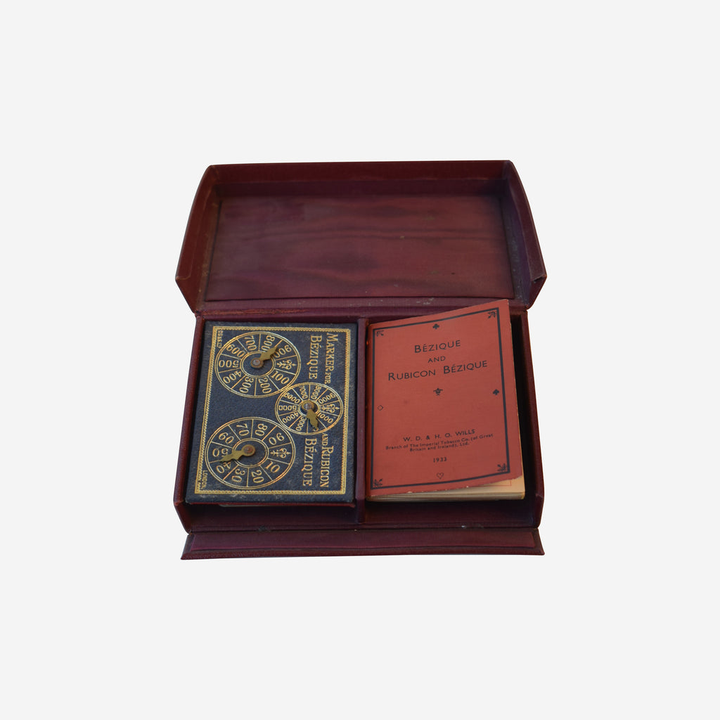 Bezique Lether Box with Scorers Playing Cards and Book of Rules - Tonkin of Nantucket - English and French Antique Furniture and Accessories