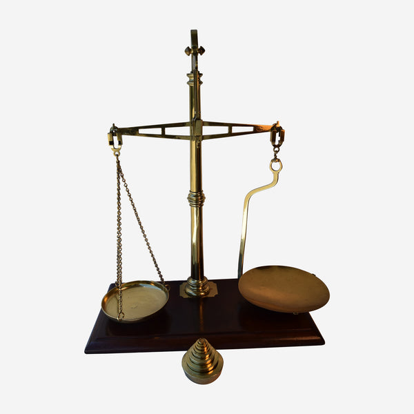 Mahogany and Brass Bank Scales with Weights - Tonkin of Nantucket - English and French Antique Furniture and Accessories