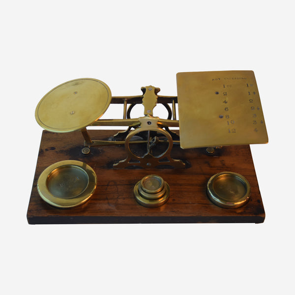 Walnut and Brass Postal Scales with weights - Tonkin of Nantucket - English and French Antique Furniture and Accessories