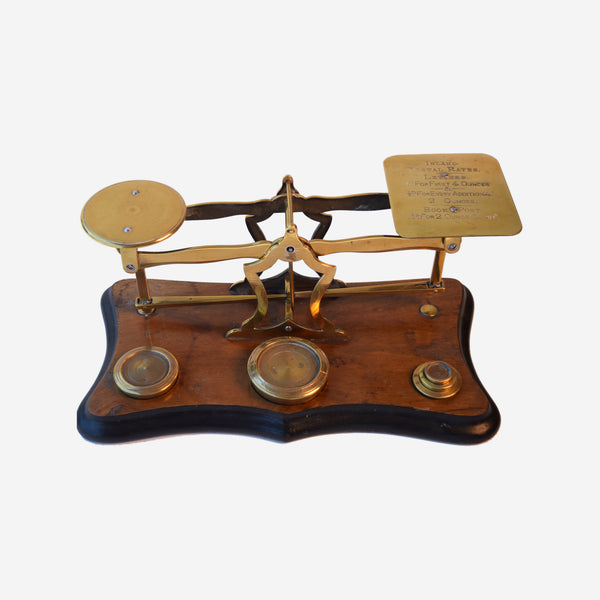 Brass and Walnut Postal Scale with 5 Weights - Tonkin of Nantucket - English and French Antique Furniture and Accessories