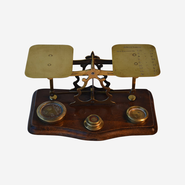 Walnut and Brass Postal Scale with 5 Weights - Tonkin of Nantucket - English and French Antique Furniture and Accessories