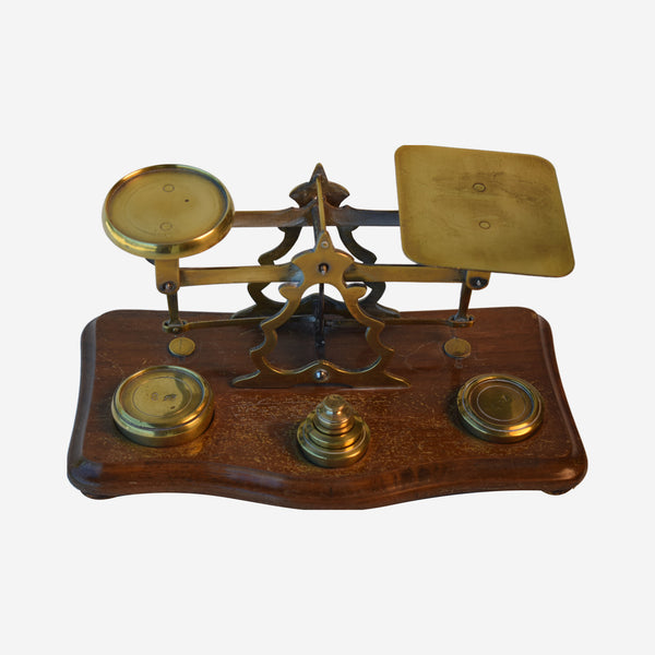 Letter Scale with Six weights and Mahogany and Brass - Tonkin of Nantucket - English and French Antique Furniture and Accessories