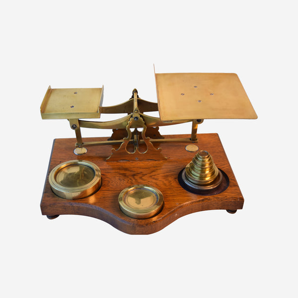 Brass Parcel Scale on Footed Oak Base - Tonkin of Nantucket - English and French Antique Furniture and Accessories