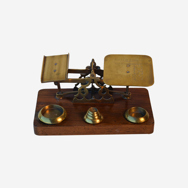 Brass Letter Scale with Mahogany Base and Six Brass Weights - Tonkin of Nantucket - English and French Antique Furniture and Accessories