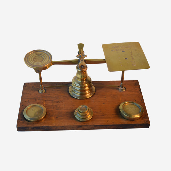Postal Scale with Six Weights Mahogany and Brass - Tonkin of Nantucket - English and French Antique Furniture and Accessories