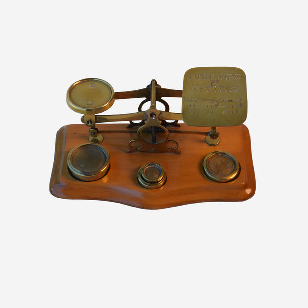 Brass and Beach Wood Postal Scale with 4 Weights - Tonkin of Nantucket - English and French Antique Furniture and Accessories