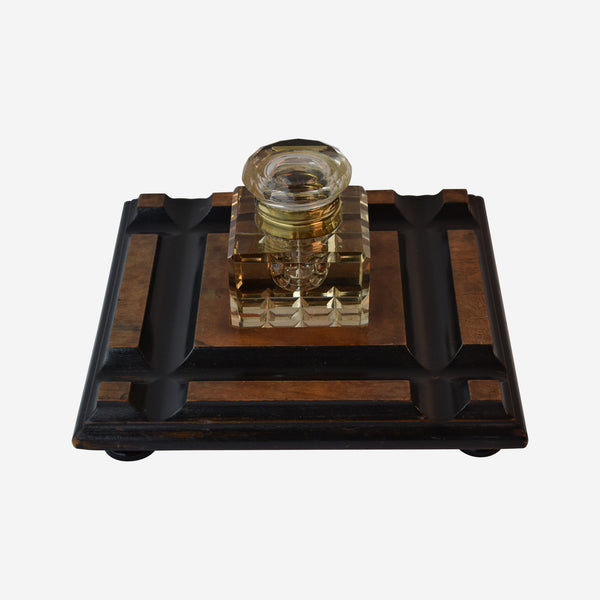 Fine Cut Crystal and brass Ink Well on Ebonised Walnut Stand - Tonkin of Nantucket - English and French Antique Furniture and Accessories