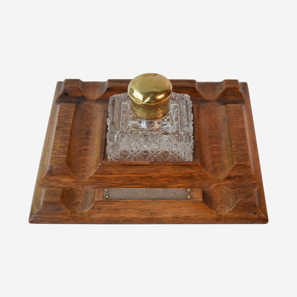 Crystal Inkwell Wood Base - Tonkin of Nantucket - English and French Antique Furniture and Accessories