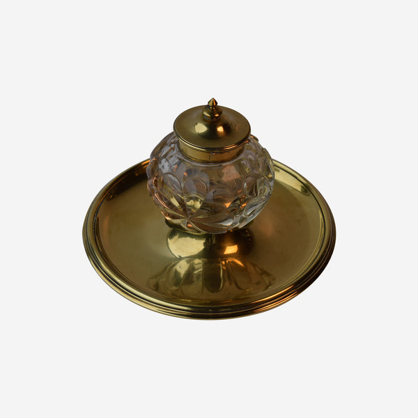 Fine Cut Crystal and Brass Inkwell on Brass Stand - Tonkin of Nantucket - English and French Antique Furniture and Accessories