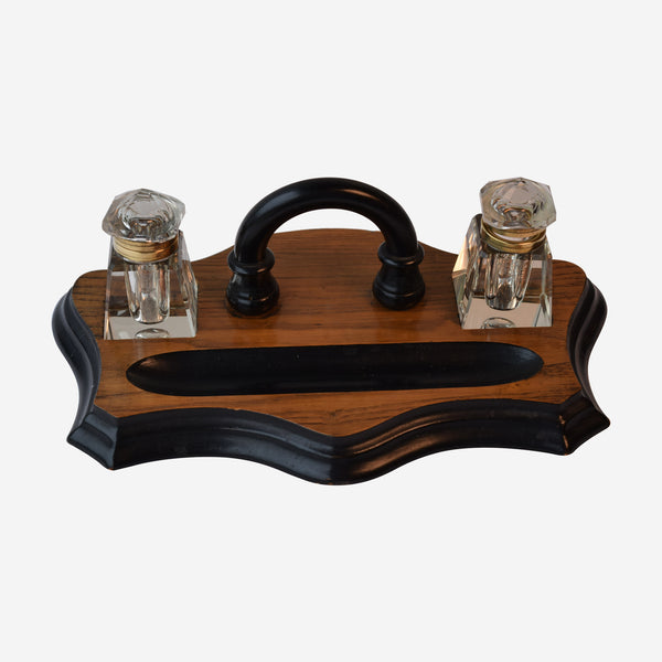 Ebonized Dual Inkwell's on Oak Stand - Tonkin of Nantucket - English and French Antique Furniture and Accessories