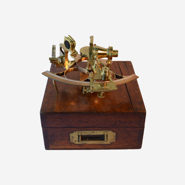 Brass Sextant with Fitted Mahogany Case - Tonkin of Nantucket - English and French Antique Furniture and Accessories