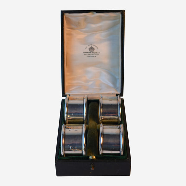 Boxed Set of Four Birmingham Silver Napkin Rings - Tonkin of Nantucket - English and French Antique Furniture and Accessories