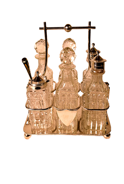 Silver Plate Crystal Six Bottle Cruet Set with Spoon - Tonkin of Nantucket - English and French Antique Furniture and Accessories