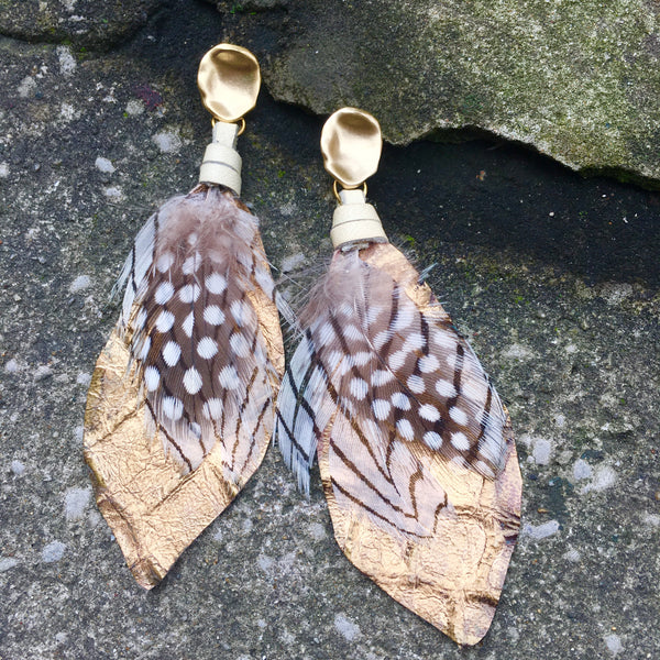 Feather Earrings | Metallic Gold + Cream - burnmark