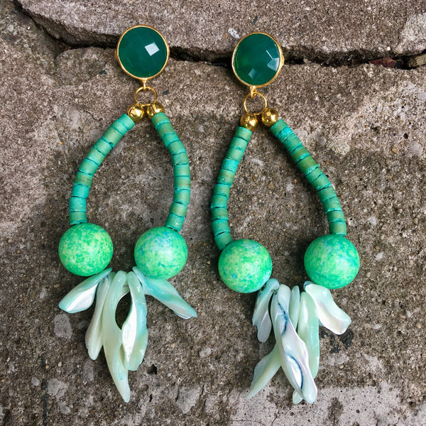 Coral Hoop Earrings | Emerald - burnmark